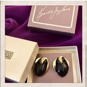 Kenneth Jay Lane Black Rose Earrings, NIB
